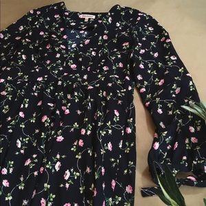 Juicy couture navy floral rose vneck dress